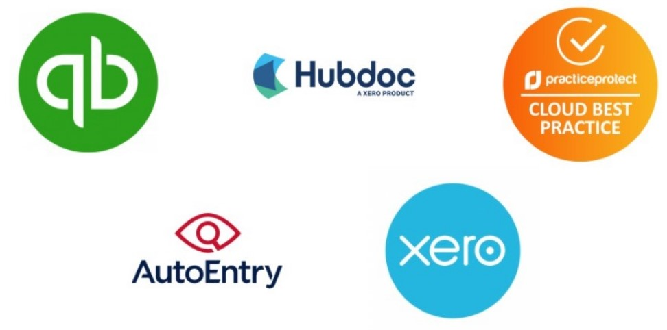 software quickbooks, hubdoc, practice protect, auto entry, xero logos